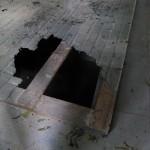 broken floor in crypt